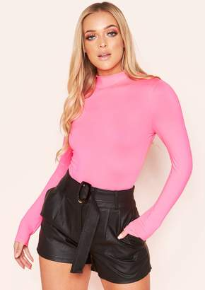 Missy Empire Missyempire Halley Black Faux Leather Belted Shorts