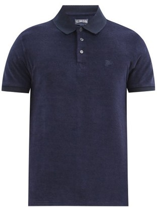 Vilebrequin Terry Cloth Cotton Blend Polo Shirt - Mens - Navy