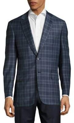 BrioniWindowpane Plaid Wool Jacket