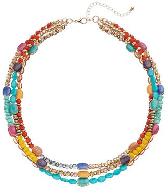 Multi Color Beaded Triple Strand Necklace $32 thestylecure.com