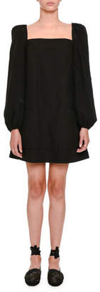 Tomas Maier Long-Sleeve Square-Neck Babydoll Dress