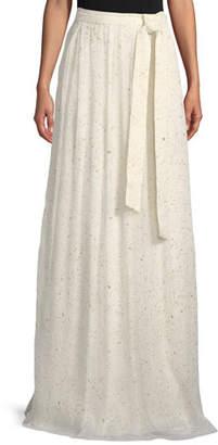 990b7b38365 St. John Flocked Glitter Crinkle Chiffon Floor-Length Skirt