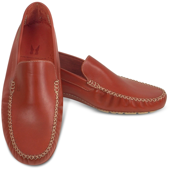 Moreschi Red Calf Leather Driving Shoes