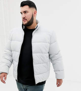 Asos DESIGN Plus puffer jacket in gray