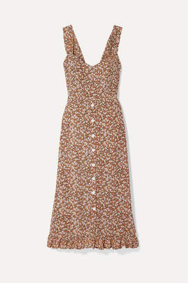 Faithfull The Brand Yasmin Floral-print Crepe Midi Dress - Brown