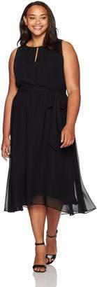 Tahari by Arthur S. Levine Women's Plus Size Sleevless Key Hole Tea Length Dress