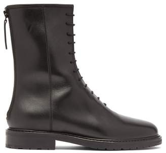 Legres - Tread Sole Lace Up Leather Boots - Womens - Black