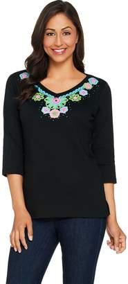 Factory Quacker 3/4 Sleeve Crochet Trimmed Knit T-Shirt