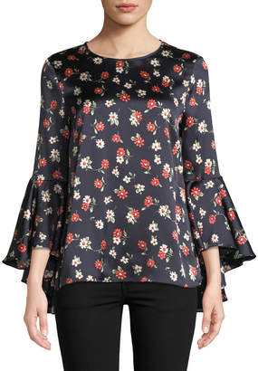 Milly Floral-Print Bell-Sleeve Blouse