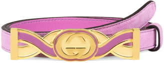 Gucci Interlocking-G Buckle Skinny Suede Belt