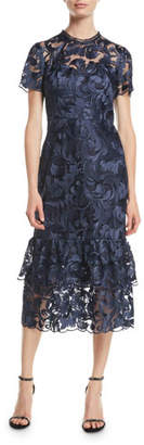 Shoshanna Treya Tulle Cocktail Dress w/ Midnight Leaf Embroidery