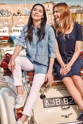 289fa56f147 Next Womens Barbour Blue Chambray Textured Longline Denim Shirt