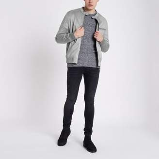 River Island Light grey faux suede racer neck jacket