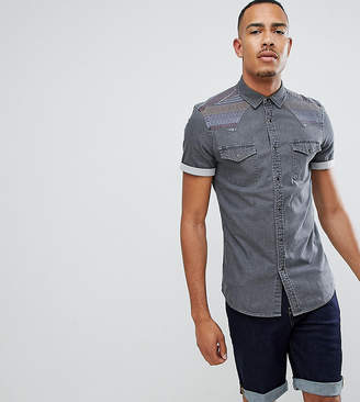 Asos Design DESIGN Tall skinny western denim shirt with aztec panels in grey