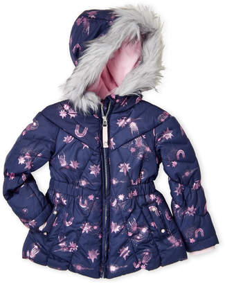 Jessica Simpson Toddler Girls) Faux Fur Trim Stars and Rainbows Graphic Puffer Coat