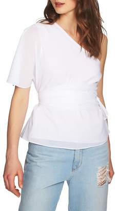 1 STATE 1.State Tie Waist One-Shoulder Blouse