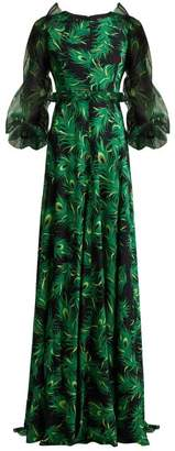 Andrew Gn Peacock Feather Print Silk Gown - Womens - Green Print