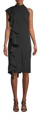Johanna Ruffle Sheath Halter Dress