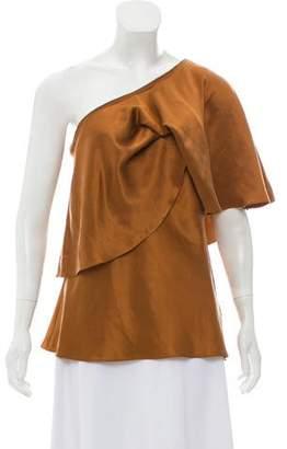 Halston One-Shoulder Silk Top