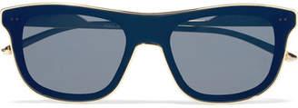 Square-frame Gold-tone And Acetate Sunglasses - Black