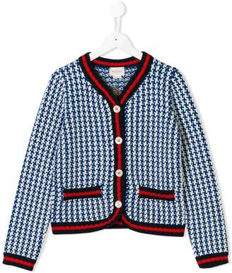 Gucci Kids knitted houndstooth cardigan
