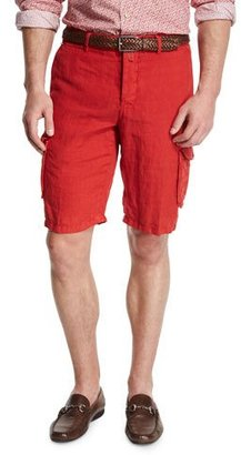 Kiton Linen Cargo Shorts, Red $995 thestylecure.com