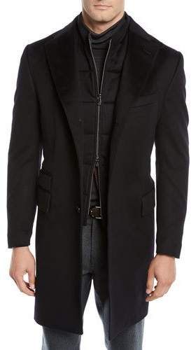 Corneliani Men's ID Wool Top Coat, Black