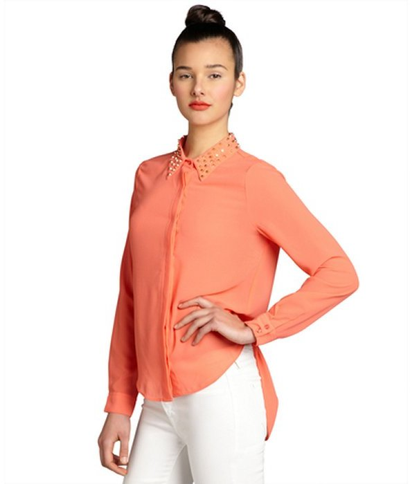 Wyatt coral chiffon studded button down open back blouse