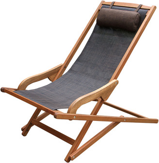 Outdoor Interiors Sling & Eucalyptus Lounger