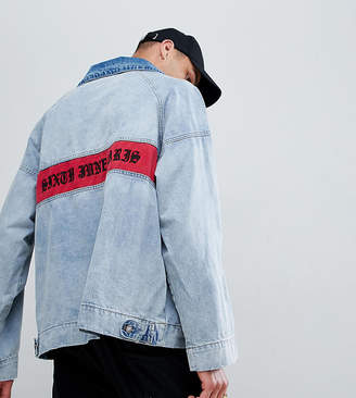 Asos Sixth June denim overhead jacket with back logo exclusive to