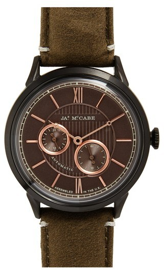Men's James Mccabe New Belfast Slim Multifunction Leather Strap Watch, 35Mm