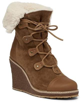 Australia Luxe Collective Mona Genuine Shearling Wedge Boot