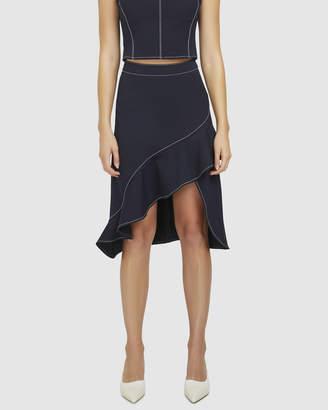 Contrast Stitch Ruffle Skirt