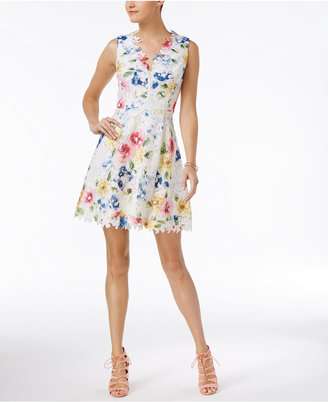 Betsey Johnson V-Back Printed Lace Fit & Flare Dress $148 thestylecure.com