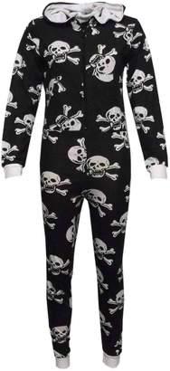 a2z4kids Girls Boys Onesie Kids Skull & Cross Bone Onesies All in One Jumpsuit PJ's 5-13Y