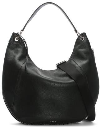 DKNY Tompson Black Pebbled Leather Hobo Bag
