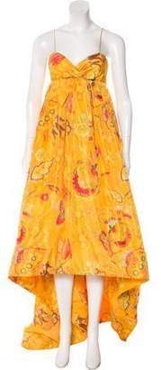 Oscar de la Renta Floral Print Silk Gown