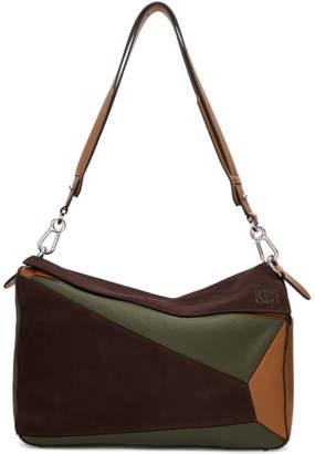 Loewe Brown and Khaki XL Puzzle Messenger Bag