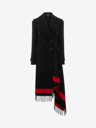 Alexander McQueen Stripe Wool Cashmere Blanket Coat