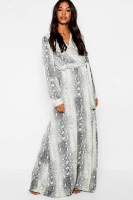 boohoo Snake Print Belted Woven Maxi Dress