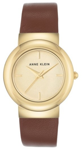 Anne Klein Women's Anne Klein Round Leather Strap Watch, 36Mm