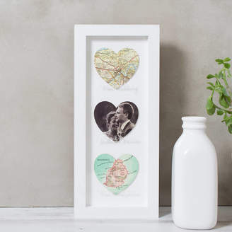 Bombus Personalised Heart Wedding Map Photo Collage Print