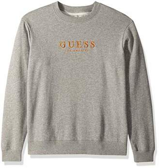 GUESS Men's Long Sleeve Roy Oversized Crew Neck Shirt