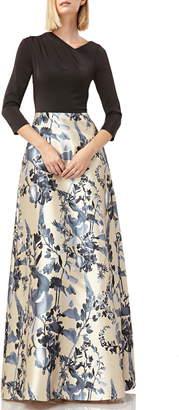 Kay Unger Drape Neck Evening Dress