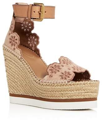 See by Chloe Cutout Suede Espadrille Platform Wedge sandals