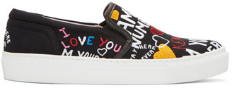 Kenzo Black Limited Edition 'I Love You' K-Skate Slip-On Sneakers $175 thestylecure.com