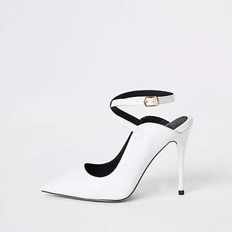 River Island White ankle strap Wide fit pumps