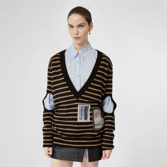 Burberry Montage Print Striped Mohair Wool Blend Sweater
