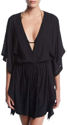 Vix Embroidered Open-Front Coverup Caftan