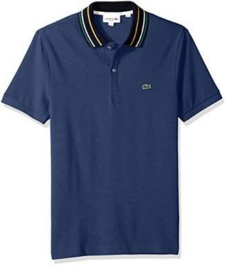 Lacoste Men's Short Sleeve Slim Fit Semi Fancy Striped Collar Polo, 4X-Large